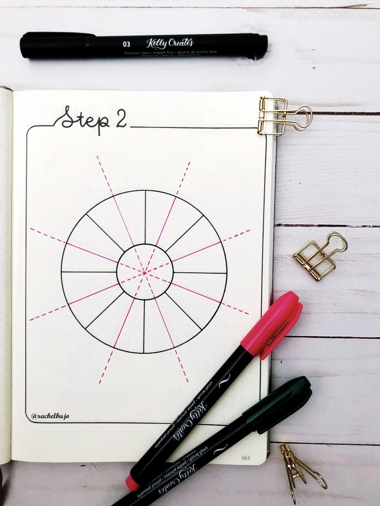 How to Draw a circle mood tracker with a compass and pretty floral bujo bullet journal tutorial www.kellycreates.ca