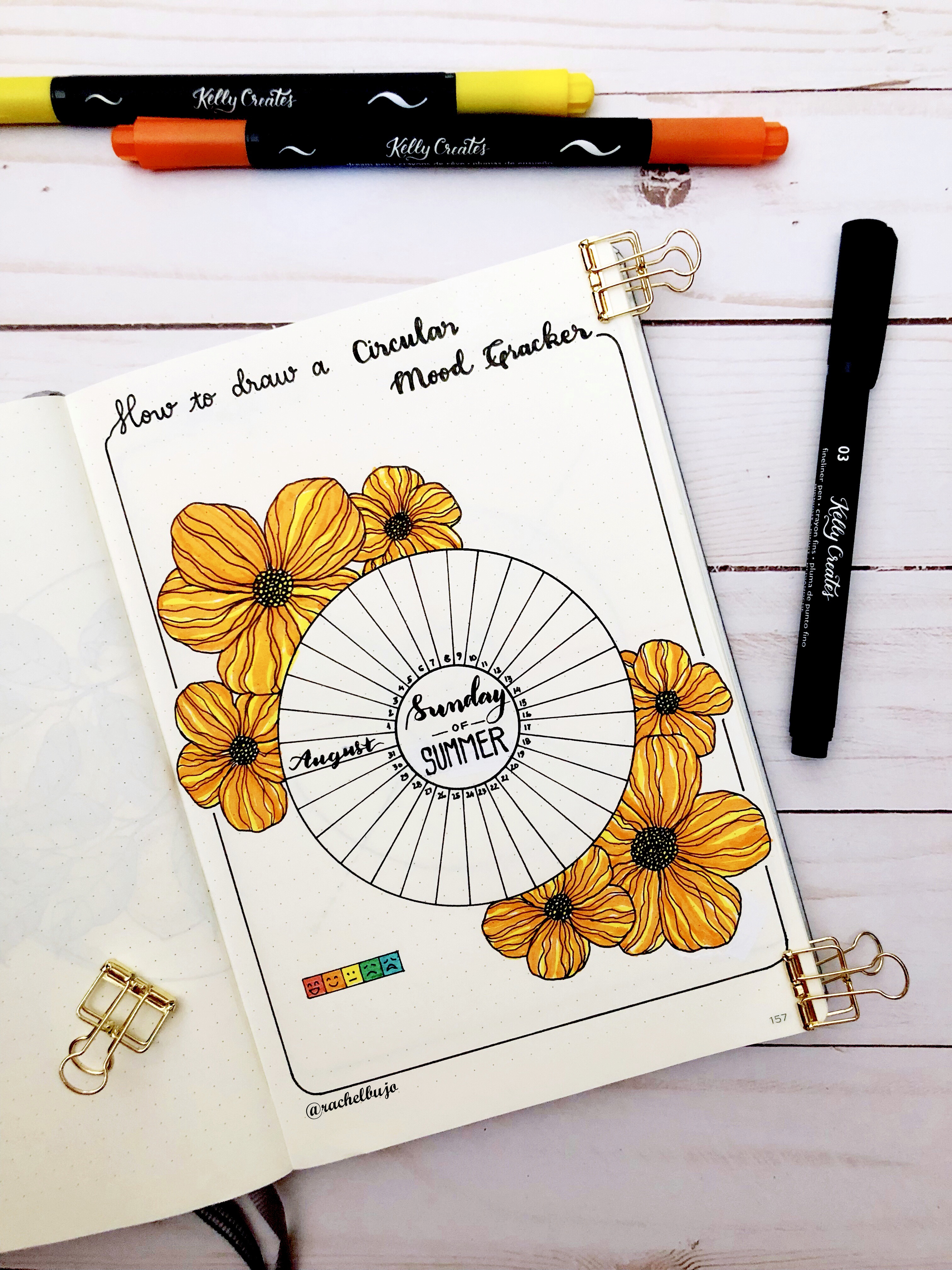 a floral mood tracker for your journal kelly creates