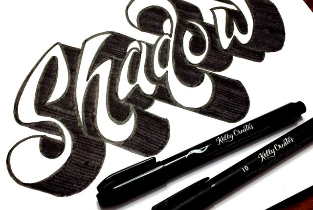Cool tutorial on how to add drop shadows to hand lettering and calligraphy for cards, quotes, home decor, scrapbooking and more by Elizabeth Wise www.kellycreates.ca