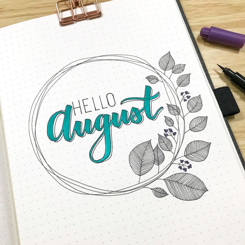 Just love this simple wreath for my bullet journal bujo monthly cover August by Little Miss Rose tutorial