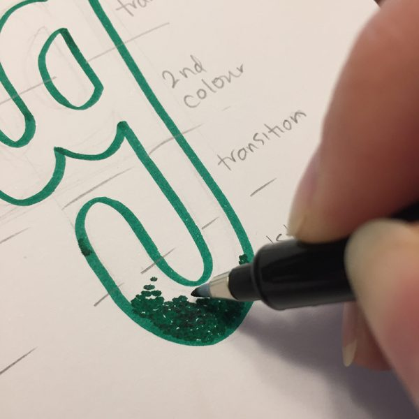 Hand lettering tutorial with a fun stippling technique by Elizabeth Wise using Kelly Creates pens