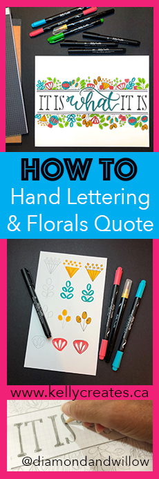 Fantastic design idea for a short quote using hand lettering and simple florals home decor design www.kellycreates.ca