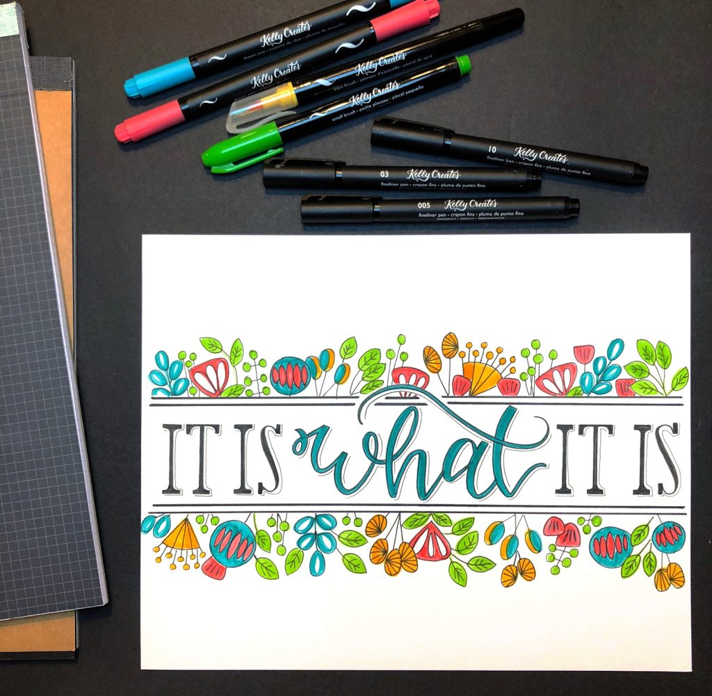 How to design a hand lettered quote with flowers by Bonnie Peters for kellycreates.ca