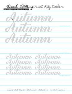 An awesome free worksheet to download print and practice for Autumn, Fall and brush pens calligraphy lettering