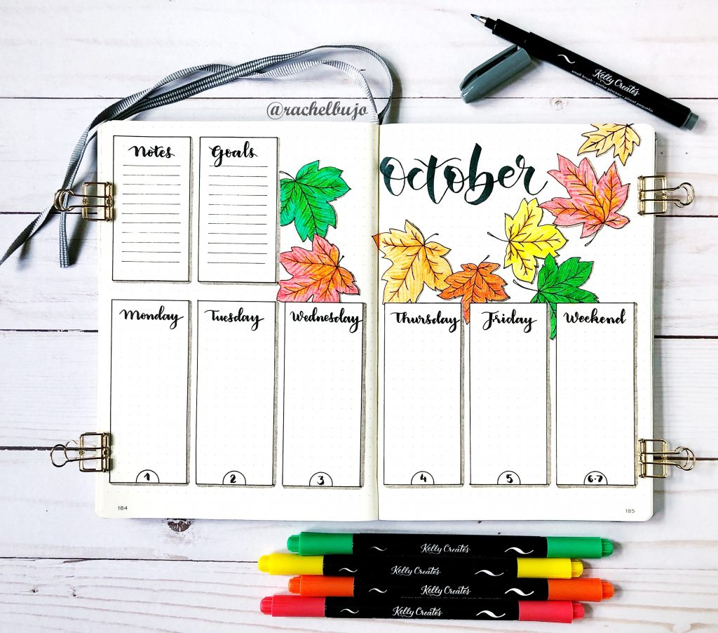 Love this amazing but simple tutorial on how to do a weekly spread in my bullet journal, bujo, and draw maple leafs www.kellycreates.ca @rachelbujo @kellycreates