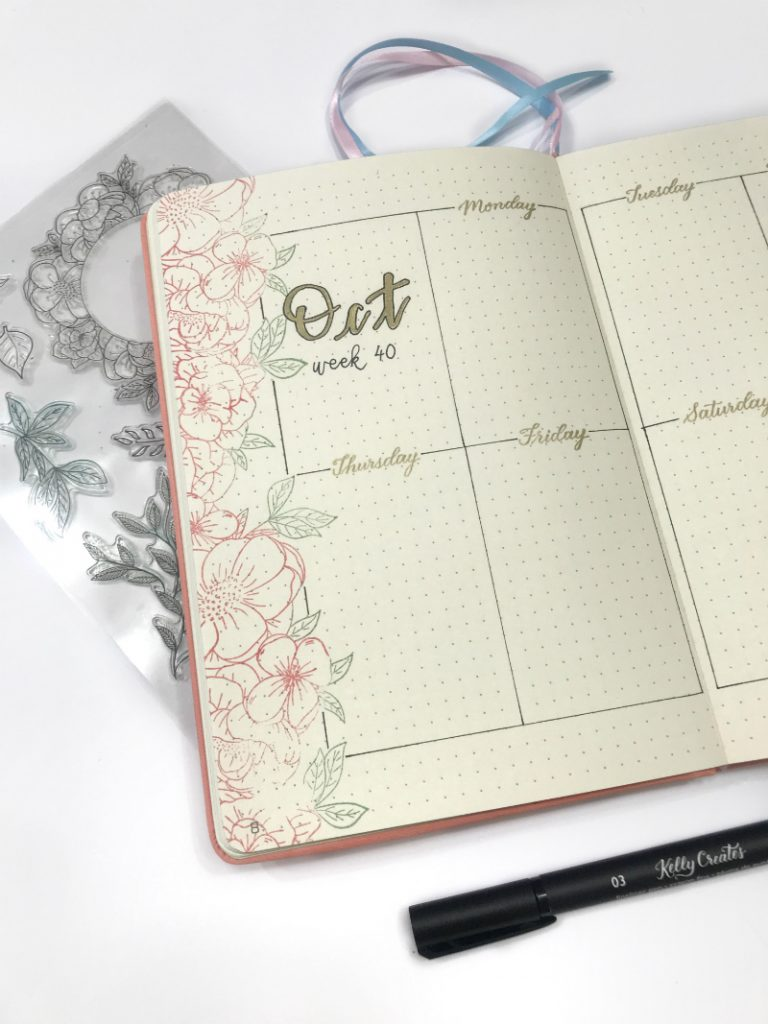 A wonderful tutorial on using stamps in a bujo for a bullet journal weekly layout design by @littlemissrose