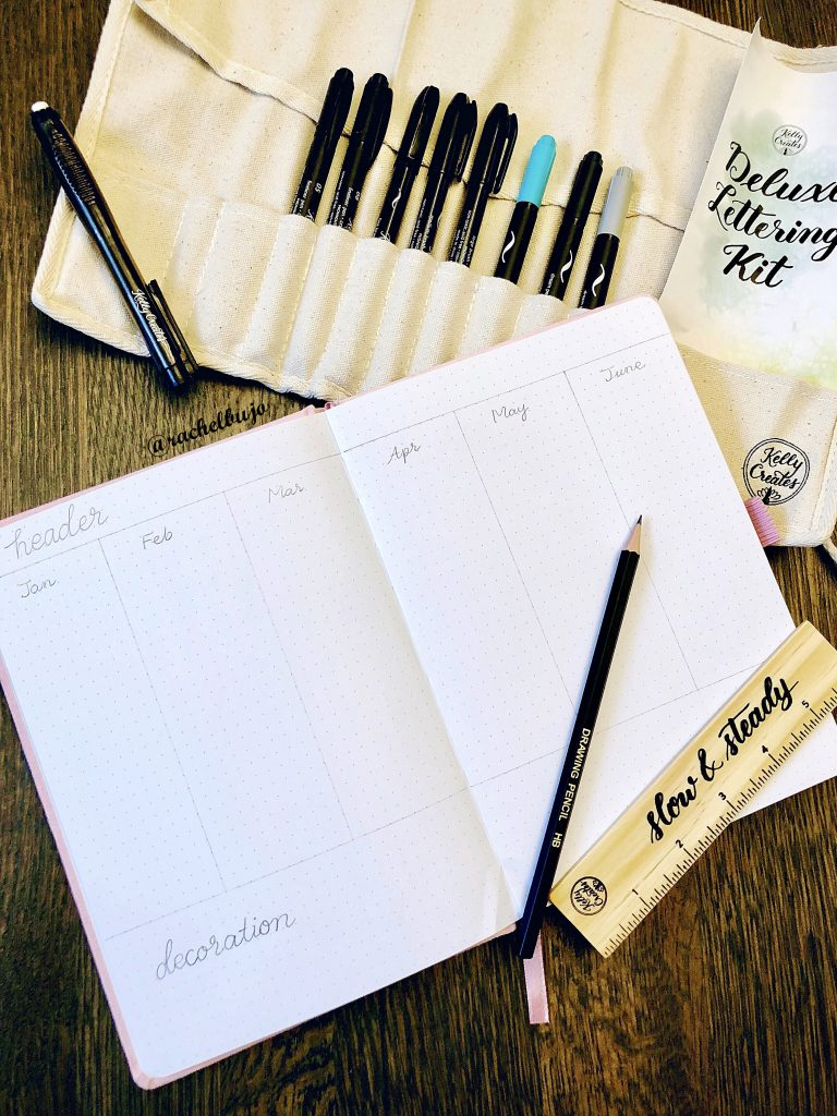 Get organized with a future log in your bullet journal bujo planner using stamps and calligraphy by @rachelbujo and www.kellycreates.ca