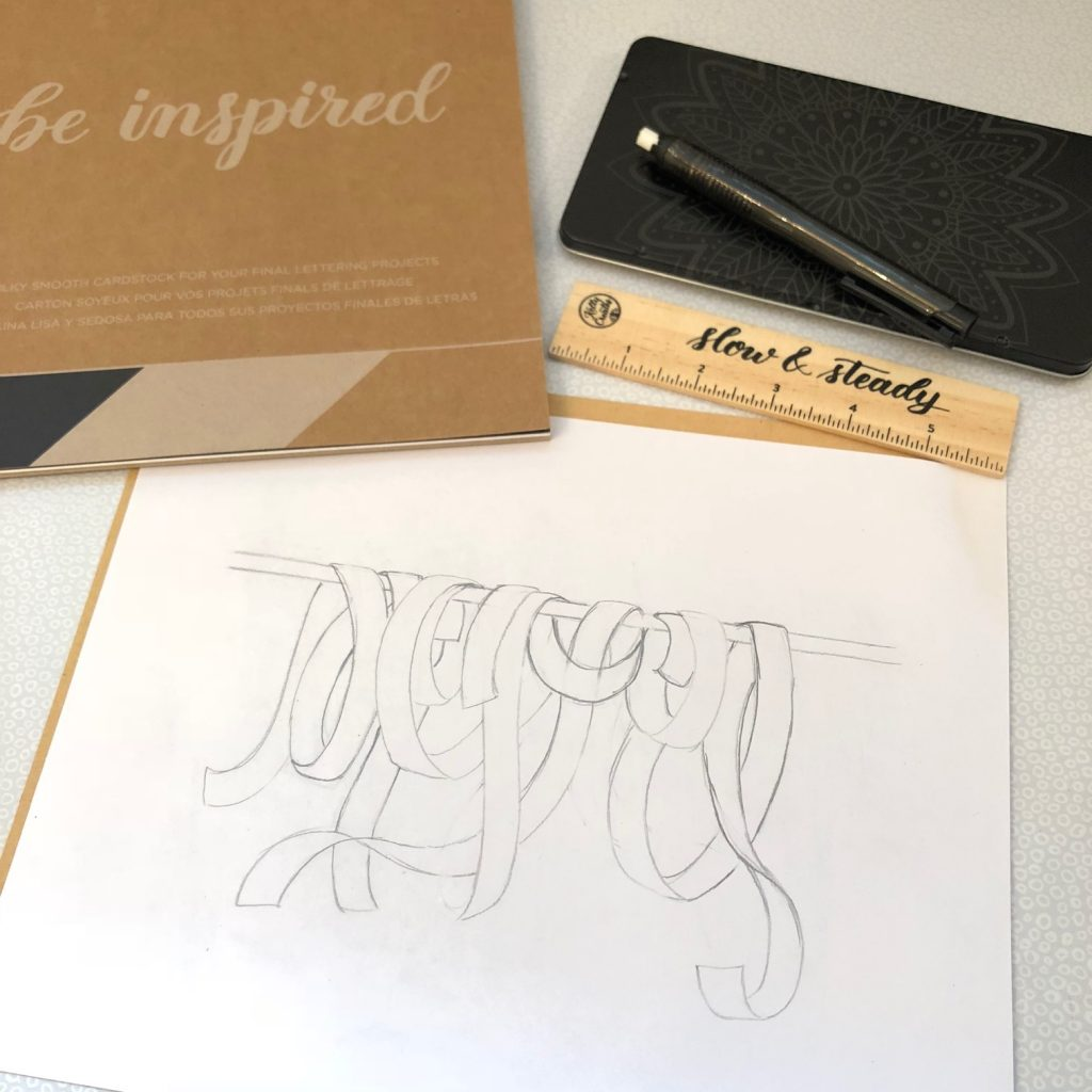 really cool ribbon drawing tutorial with hand lettering from @diamondandwillow www.kellycreates.ca
