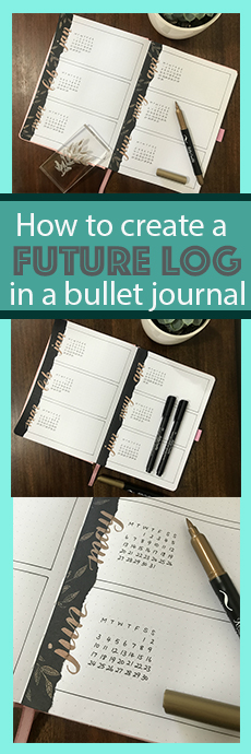 quick and easy bujo bullet journal tutorial for a future log using stamps and brush pens from Little Miss Rose www.kellycreates.ca