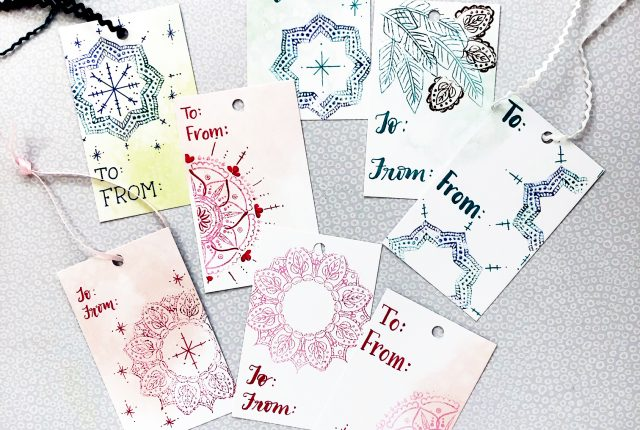 Really pretty gift tags and simple tutorial using stamps and hand lettering for any season by @diamondandwillow for kellycreates.ca