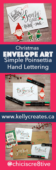 Love this easy tutorial for Christmas envelopes decorating with poinsettias www.kellycreates.ca