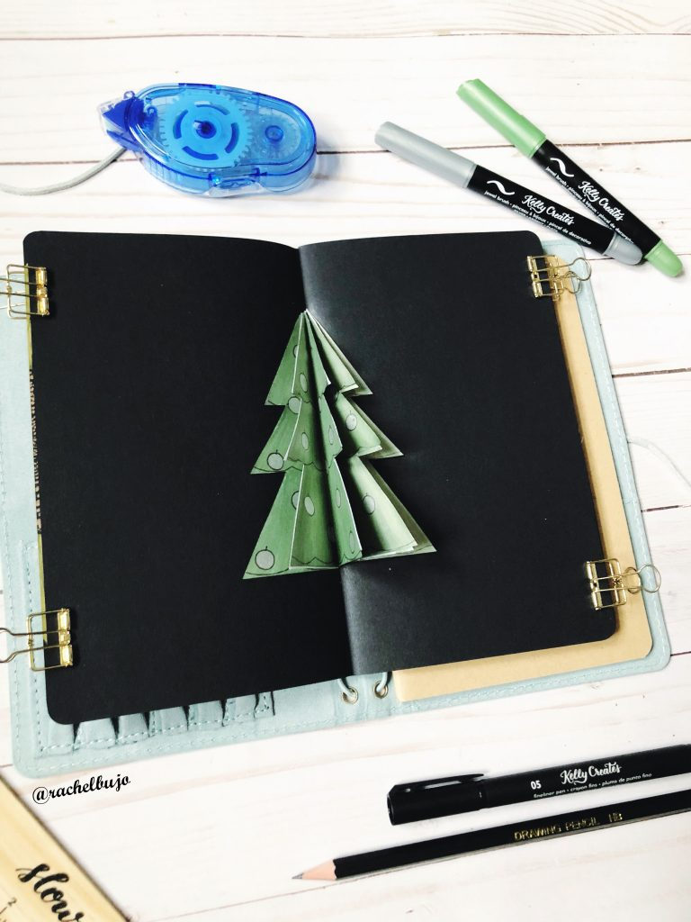 Christmas tree journal bujo weekly spread 3D @rachelbujo kellycreates.ca