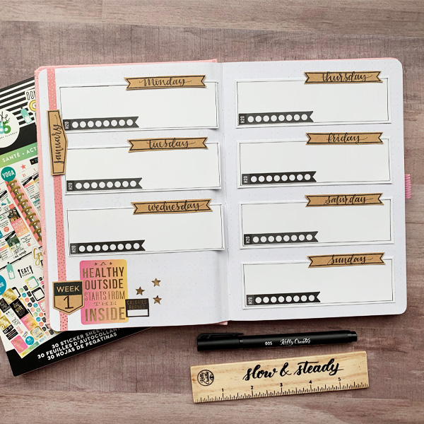 Love this pretty journal for planning goals and bujo ideas with stamps and stickers www.kellycreates.ca