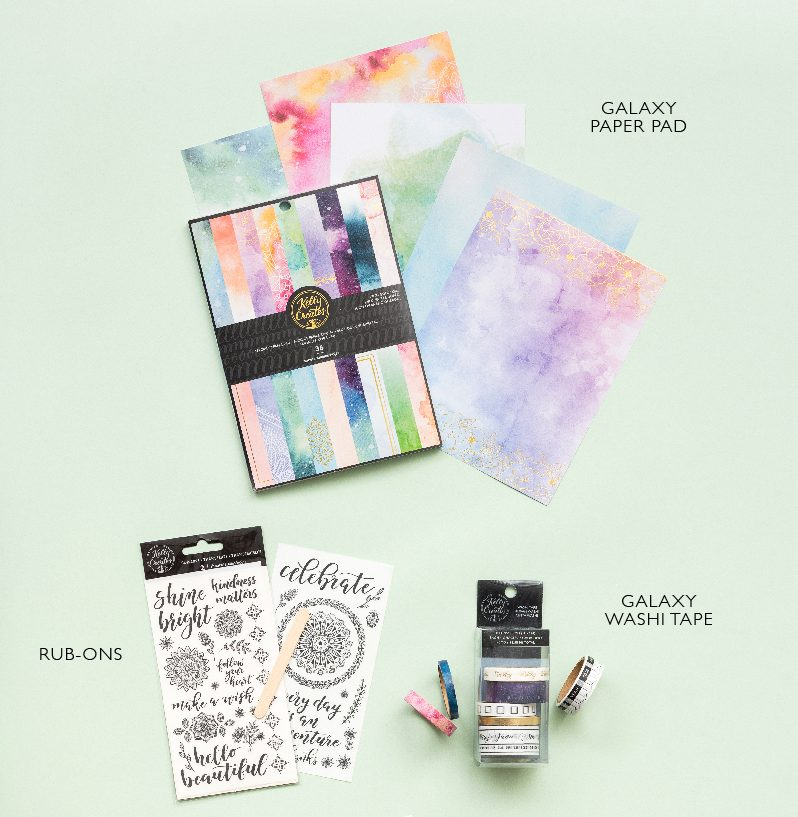 NEW Kelly Creates Specialty paper pad, galaxy washi tape and rub ons