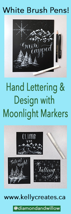 LOVE these white Moonlight Markers on Black Paper!@diamondandwillow Moonlight Markers design tutorial for illustration and snow or winter effects