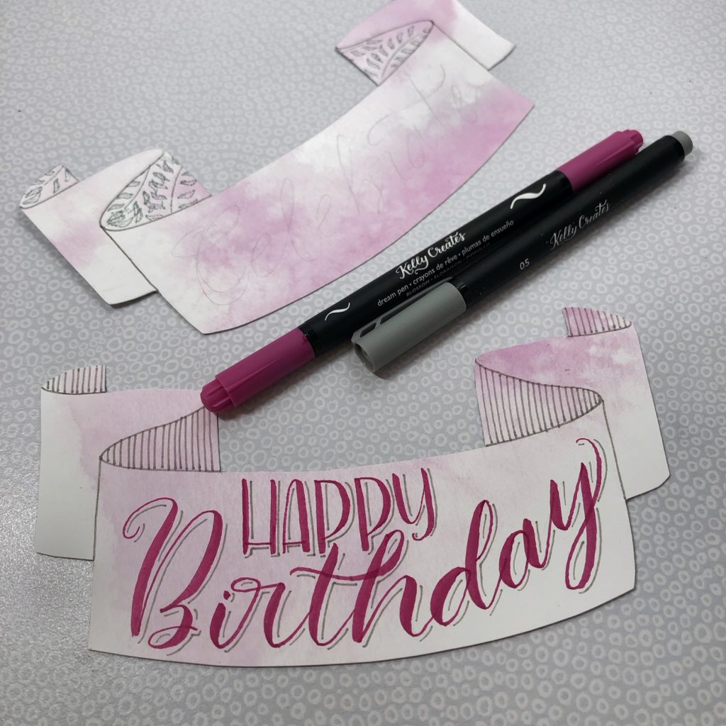 Sweet DIY cake topper tutorial with hand lettering & calligraphy by @diamondandwillow for www.kellycreates.ca