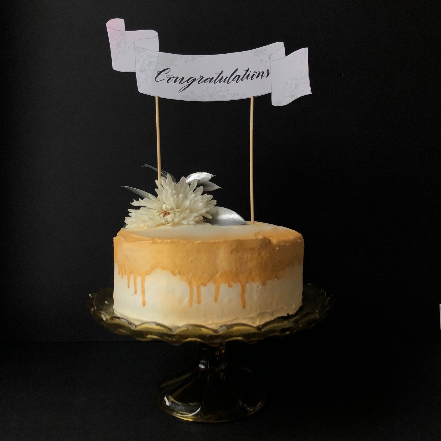 DIY Cake Topper With Hand Lettering