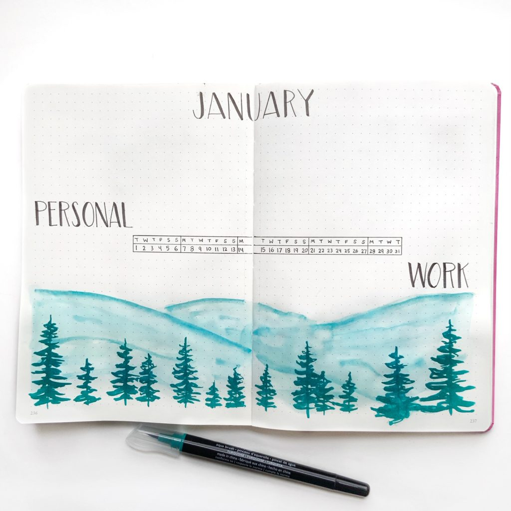 monthly spread bullet journal idea with simple watercolor technique from @theillustratedplanner www.kellycreates.ca