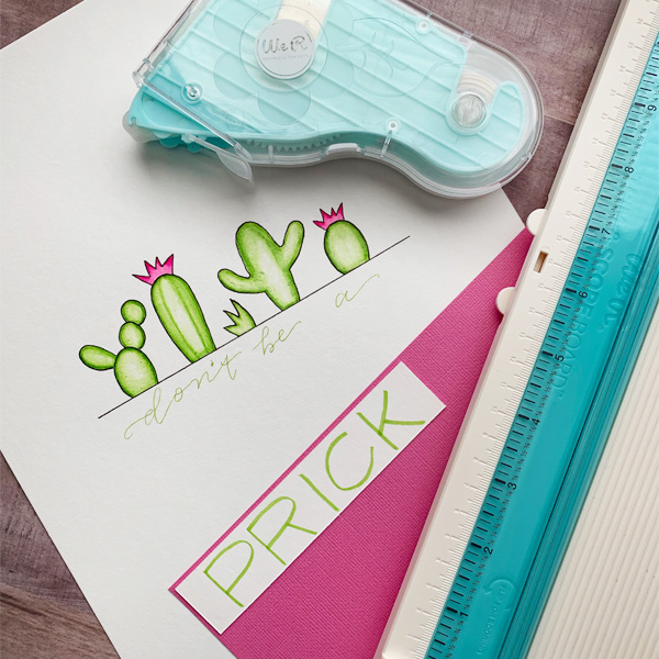 Adorable cactus card with hand lettering and colouring with blending pens by @chiciscre8tive www.kellycreates.ca