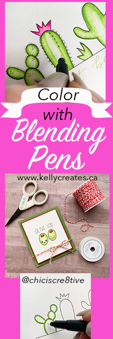 Adorable colouring tutorial for cards using blending pens and brush pens www.kellycreates.ca