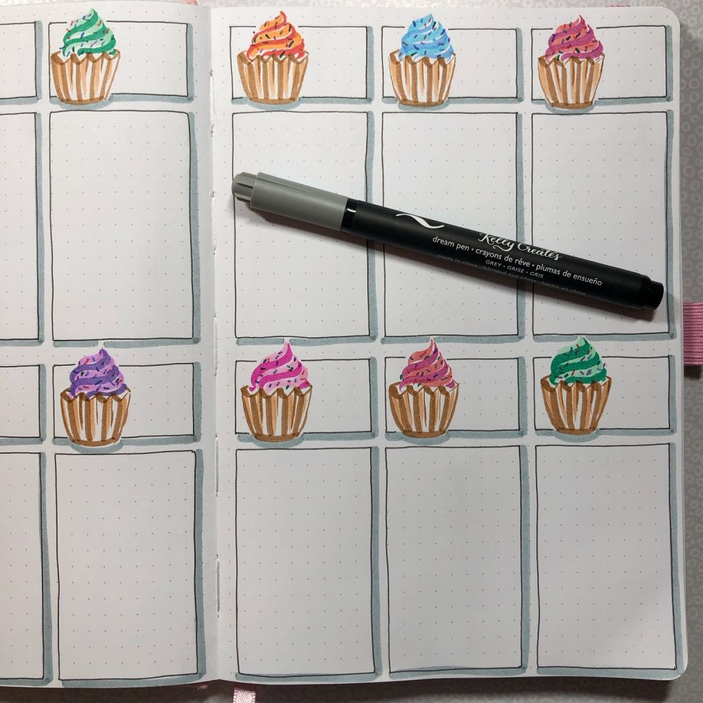 Cutest cupcake birthday tracker for your journal, bujo planner, www.kellycreates.ca @diamondandwillow