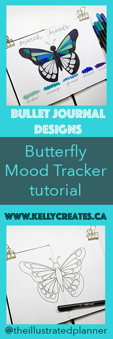 Beautiful and easy butterfly mood tracker tutorial by @theillustratedplanner www.kellycreates.ca