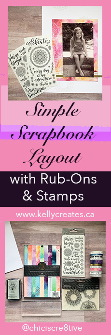 Scrapbook Layout with new Kelly Creates rub ons and washi tape