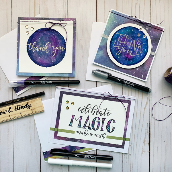 Cool galaxy cards with stamping and hand lettering www.kellycreates.ca