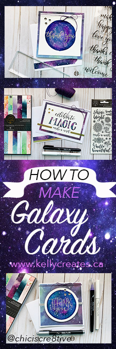 Love this galaxy card making tutorial www.kellycreates.ca @chiciscre8tive