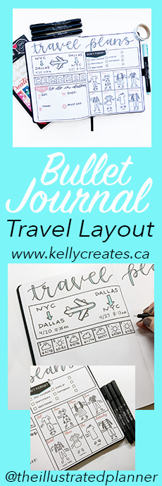 Love this Bullet Journal travel layouts, planner, bujo www.kellycreates.ca