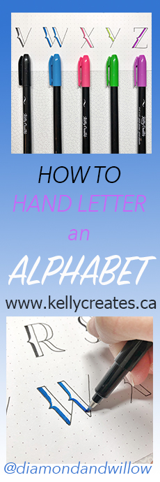 Simple easy hand lettering tutorial for bujo, bullet journals, planners, scrapbooking, cards, and more www.kellycreates.ca