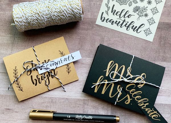 Awesome gift card holder tutorial with free template to follow! www.kellycreates.ca and hand lettering too