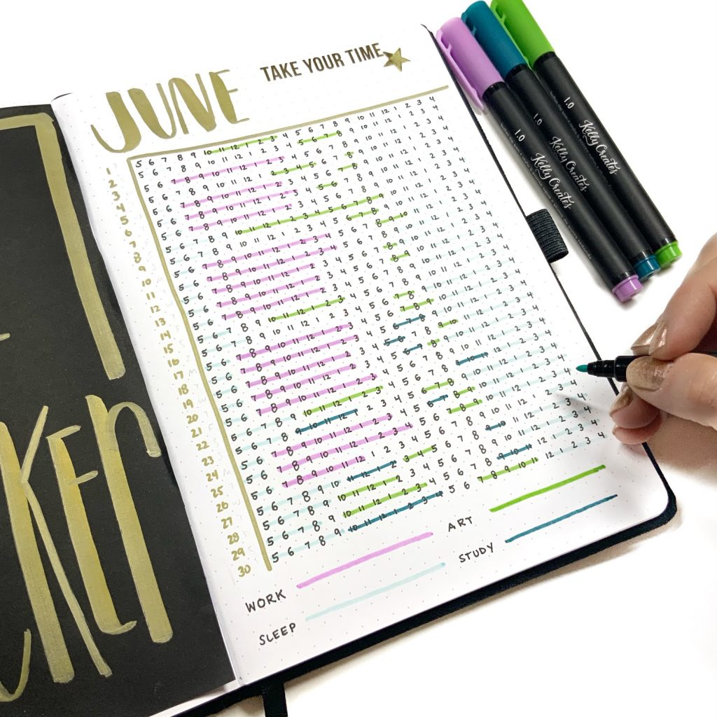 Time tracker tutorial for your bullet journal and planner www.kellycreates.ca