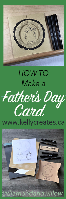 Love this tri fold card idea for Father's Day and learn how to draw an owl too www.kellycreates.ca