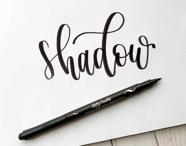 A great tutorial on drop shadows with calligraphy brush lettering www.kellycreates.ca