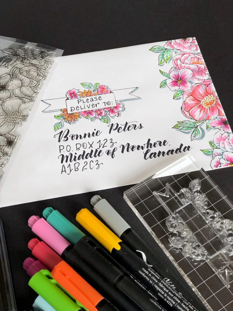 beautiful colouring and stamping on envelope art for card making