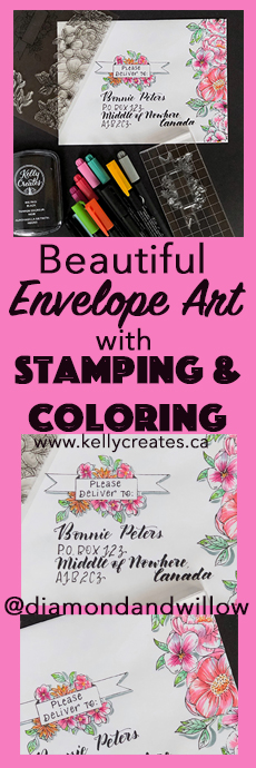 Love this tutorial for envelope art! So easy with stamping and colouring www.Kellycreates.ca