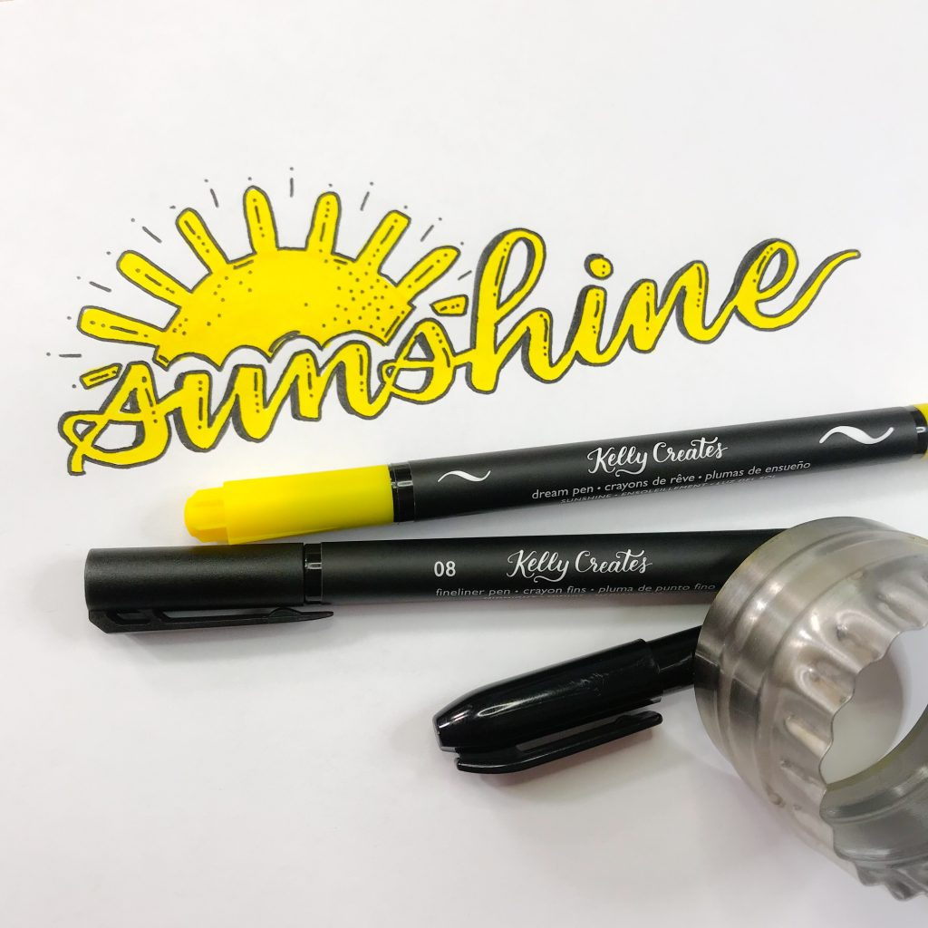 Love this 'Sunshine' hand lettering tutorial with outline technique so bright and happy www.kellycreates.ca
