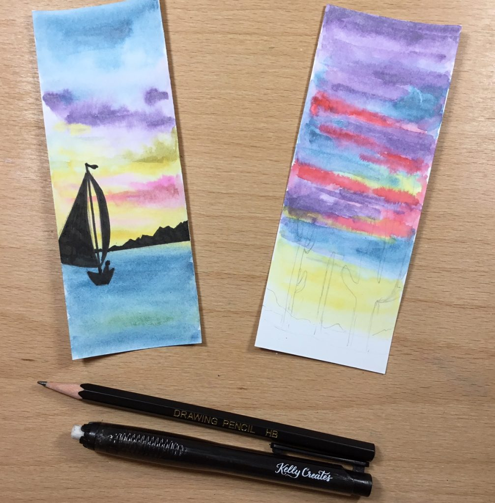 Easy DIY watercolor bookmark tutorial www.kellycreates.ca