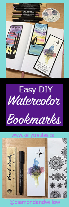 What an easy and pretty watercolor bookmark tutorial! www.kellycreates.ca