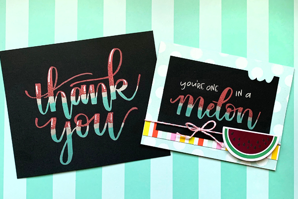 Cool lettering with metallic brush pens on a card www.kellycreates.ca