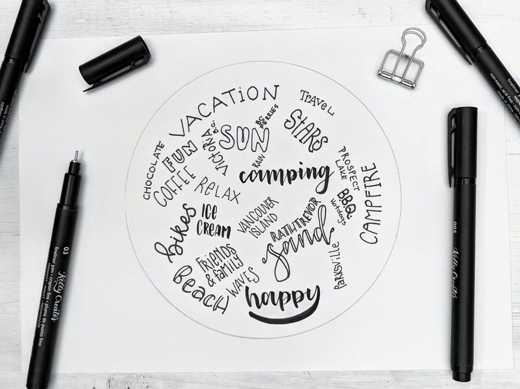 Amazing tutorial for lettering design circle of words www.kellycreates.ca