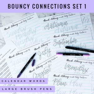 Bouncy Connections Worksheets for Large Brush Pens