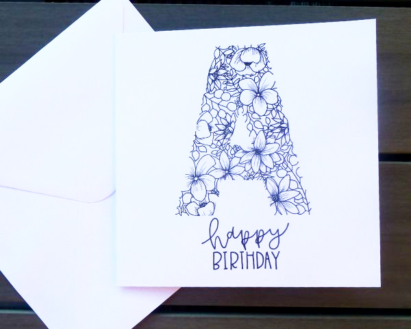 Floral Hand Lettering On A Birthday Card Kelly Creates