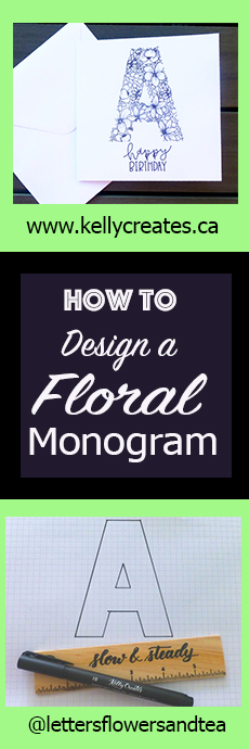 Amazing floral hand lettered monogram by Gemma Hobson for www.kellycreates.ca Learn how in this step by step tutorial!