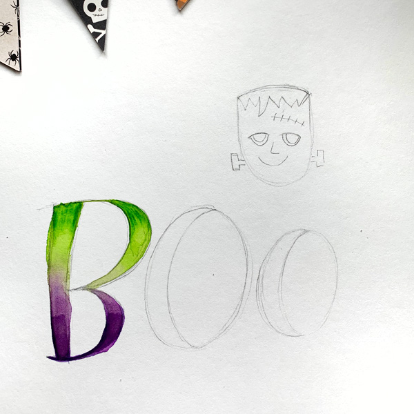 Halloween hand lettering tutorial with blending techniques using markers and pens www.kellycreates.ca