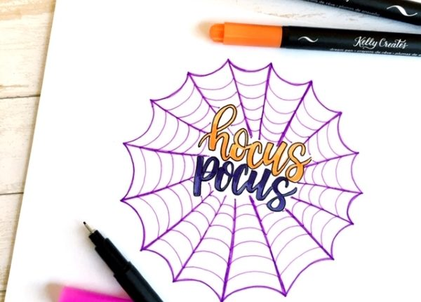 Super tutorial for Halloween hand lettering inside spider webs www.kellycreates.ca