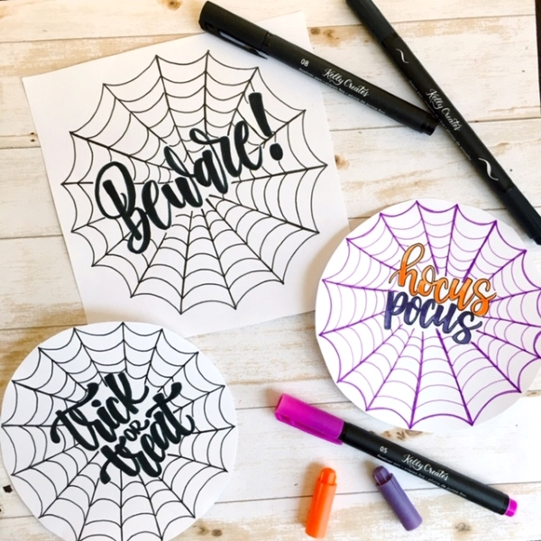 Super tutorial for Halloween hand lettering inside spider webs www.kellycreates.ca