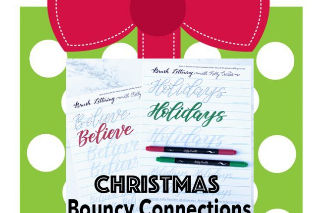 Christmas holiday theme tracing templates guides for brush lettering and modern calligraphy with brush pens to download, print and practice printable worksheets www.kellycreates.ca