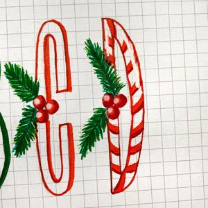 DIY Christmas holiday theme envelope art hand lettering gnomes and Santa www.kellycreates.ca